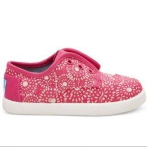 TOMS Infant Girls Pink Shibori Dots Sneakers, sz 4